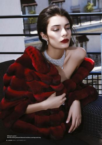 Milady fur jacket, Messika white gold and diamond necklace, earrings and ring - Veste de fourrure Milady, Rivière de diamants or blanc, boucles d'oreille et anneau Messika
